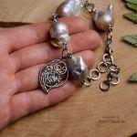 Bransoletka z perłami barokowymi stal  - Długość regulowana