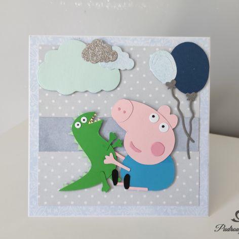 Kartka urodziny 1,2,3 ręcznie robiona Peppa George