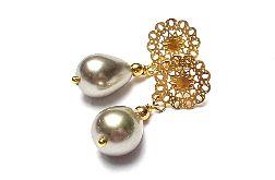 Pearls /beige/ perły naturalne vol. 1- kolczyki