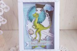 Kartka w pudełeczku z Dinozaurem 5 GOTOWA