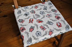 4 siedziska, poduszki na krzesło -wesołe sowy