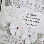 Kartka ŚLUBNA biało-srebrzysta z cytatem