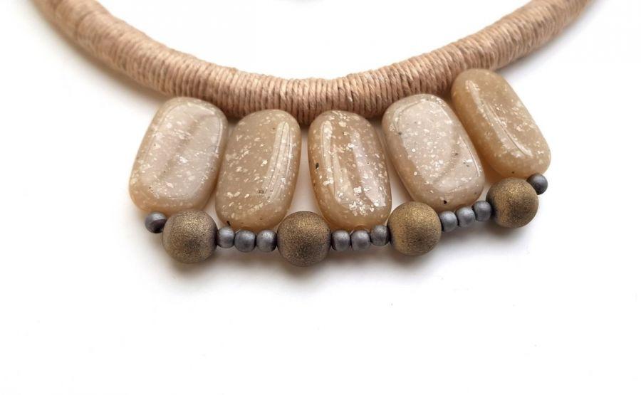 Naszyjnik z lnu z bransoletką Kenya