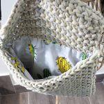 Pastelowa torebka ze sznurka, kopertówka