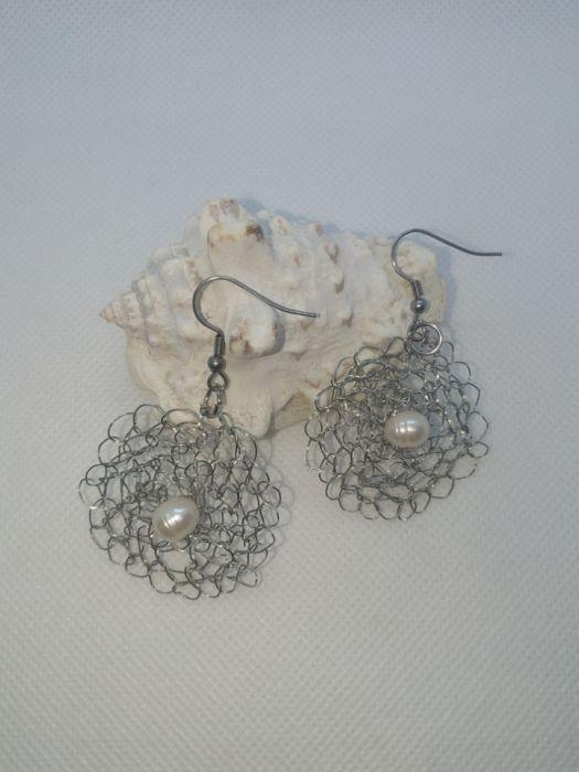 Kolczyki szydełkowe z naturalną perłą - Kiedy lczyki z perłą
