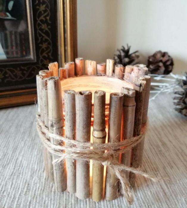 Świecznik z patyków - Świecznik z patyków bambus