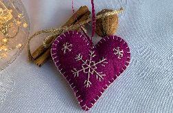 Dekoracja świąteczna z filcu z ozdobnym haftem - wzór 015