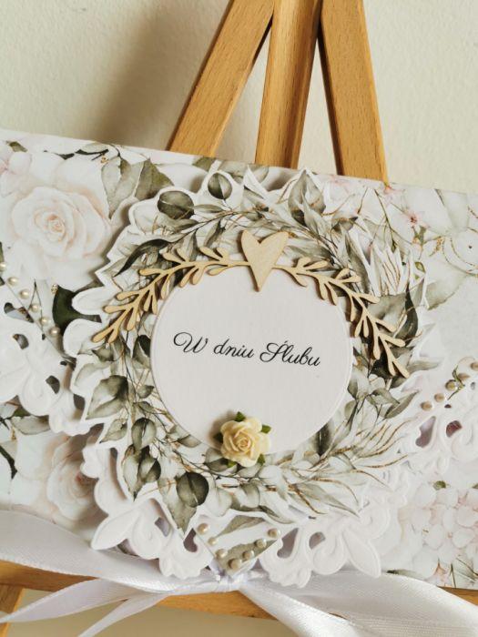 Kartka ślubna kopertowa kopertówka Grace II - w dniu Ślubu