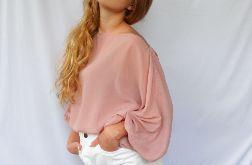 szyfonowa bluzka pudrowy róż