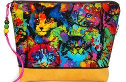 kosmetyczka - koty PopArt - żółta L
