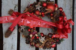 wianek Bożonarodzeniowy czerwony z kokardkami