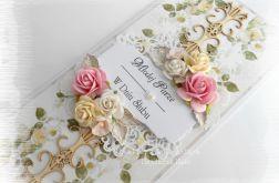Kartka ślubna w pudełku DL kremowo różowa