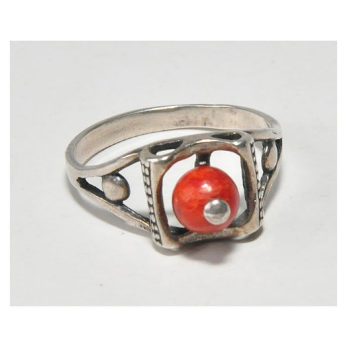 24 pierścionek vintage, naturalny koralowiec,
