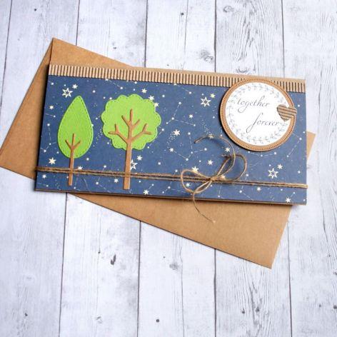 kartka kopertówka - drzewka - gwiazdy