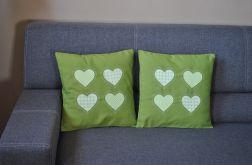 2 poszewki zielone z sercami