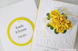 Kartka W DNIU ŚLUBU z żółtymi kwiatami