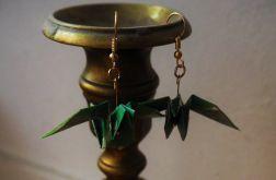 Kolczyki origami ptaki zielone