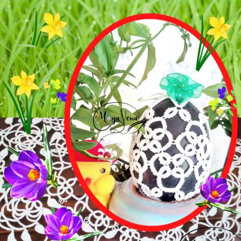 Wielkanocna koszulka na jajko frywolitka