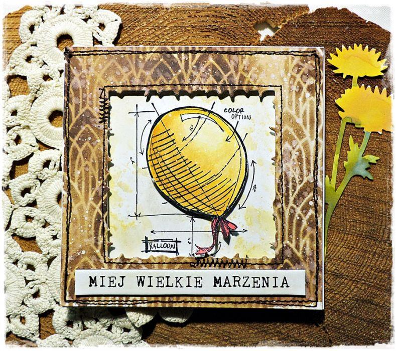 Żółty balonik - kartka urodzinowa