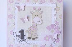 Kartka na roczek z żyrafą różowa