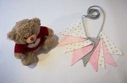 Girlanda z bawełny szary-różowy