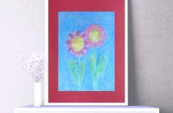 Rysunek z kwiatami na bordowym tle nr 4