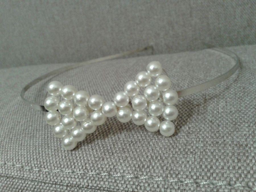 Opaska z perłową kokardką