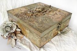 Szkatułka, pudełko vintage gold