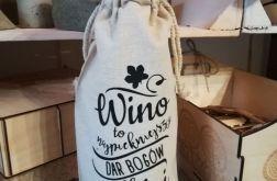 Worek. Oryginalny pomysł butelkę na wina.