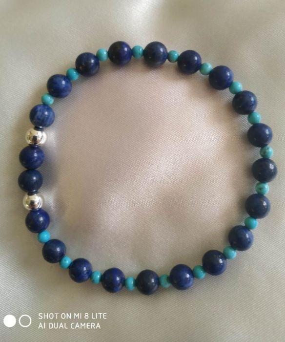 Bransoletka z naturalnego lapis lazuli,srebro - Ciekawe połączenie kolorów