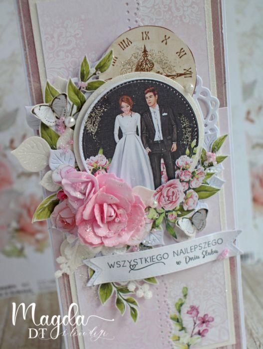 """Kartka ślubna DL """"Black&White Wedding"""" GOTOWA -"""