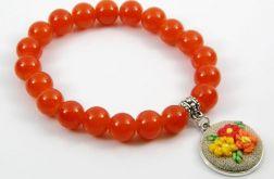 Bransoletka pomarańczowe koraliki haft