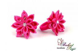Gumka do włosów różowa z kwiatuszkiem