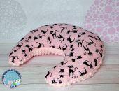 ROGAL do karmienia poduszka fasolka zagłówek - bawełna i Minky - różowy koty