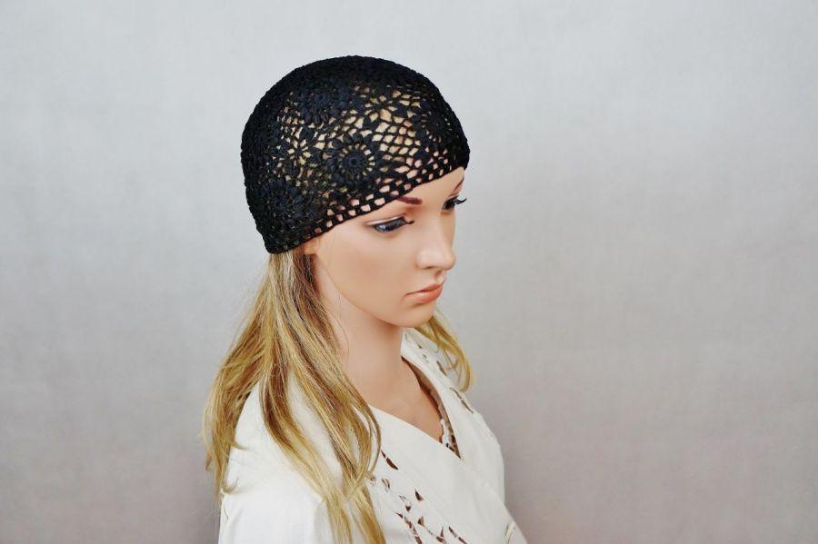 Czapka czarna handmade - czapka ręcznie robiona