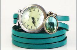 Bransoletka, zegarek - Słoń - morski, skórzany
