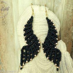 Kolczyki Czarne Skrzydła makrama z lnu