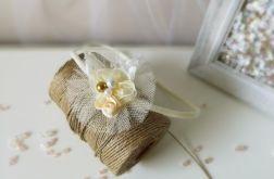 Opaska dla dziewczynki ecru tiul kwiatek