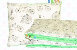 Kocyk MINKY + poduszka rowery+zielony