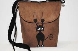 Młodzieżowa torebka malowana z kotkiem