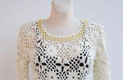 Szydełkowy sweterek złoto-kremowy
