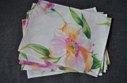 6 podkładek pod talerze Różowe kwiaty