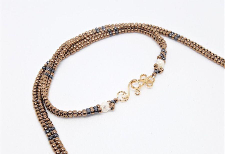 Naszyjnik z serii Gold 2 - Naszyjnik handmade rękodzieło z zapięciem