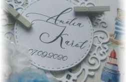 Marynistyczna kartka ślubna w pudełku