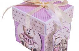 Exploding box z misiem prezent chrzest roczek