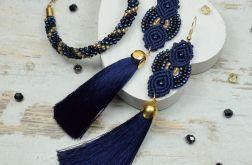 Komplet biżuterii z koralików -granat i złoto
