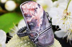 Agat koronkowy, srebrny pierścionek z agatem