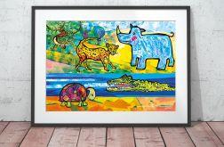ZOO obrazek dla dzieci, plakat zwierzęta