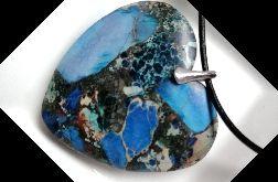 Niebieski jaspis cesarski, wisiorek - serce