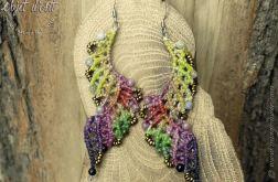 Plecione Kolczyki Eleganckie Tęczowe Skrzydła